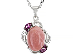 Pink Mookaite Rhodium Over Silver Pendant with Chain .38ctw