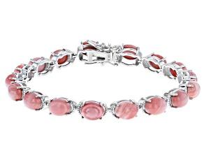 Pink Mookaite Rhodium Over Silver Bracelet