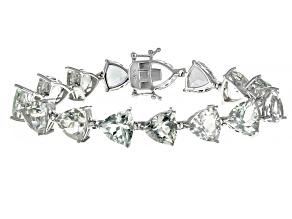 Green Amethyst Rhodium Over Sterling Silver Bracelet 38.25ctw