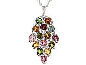 Multi-color Tourmaline Rhodium Over Silver Pendant With Chain 4.20ctw