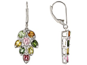 Multi-color Tourmaline Rhodium Over Silver Earrings 2.57ctw