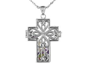 Multi-Gemstone Rhodium Over Silver Cross Prayer Box Pendant with Chain 5.53ctw