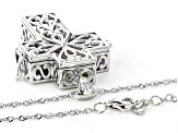 Multi-Gemstone Rhodium Over Silver Cross Prayer Box Pendant with Chain 5.53ctw