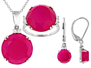 Pink Onyx Rhodium Over Silver Jewelry Set .39ctw