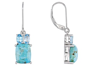 Blue Turquoise Rhodium Over Silver Earrings 0.95ctw