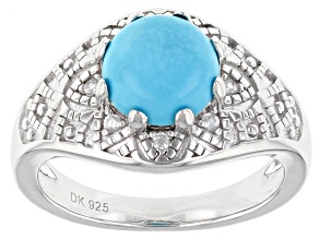 Blue Sleeping Beauty Turquoise Rhodium Over Silver Ring .12ctw
