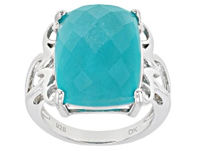 Green Amazonite Rhodium Over Silver Ring