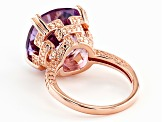 Purple Lavender amethyst 18k rose gold over silver ring 8.73ct