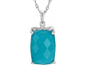 Green Amazonite Rhodium Over Silver Pendant with Chain