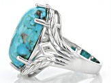 Blue Turquoise Rhodium Over Silver Solitaire Ring