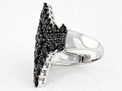 Black Spinel Rhodium Over Sterling Silver Cluster Ring 3.63ctw