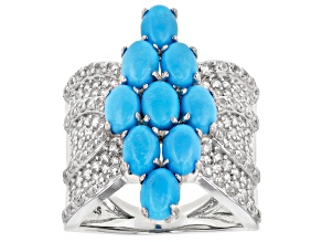 Blue Turquoise Rhodium Over Sterling Silver Ring 2.05ctw