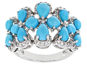 Blue turquoise rhodium over sterling silver ring 0.47ctw