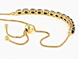 Blue Sapphire 18k Yellow Gold Over Silver Sliding Adjustable Bracelet 3.09ctw