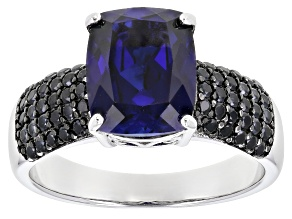 Blue Lab Created Sapphire Rhodium Over Sterling Silver Ring 4.54ctw