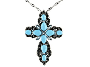 Blue Sleeping Beauty Turquoise Rhodium Over Sterling Silver Pendant With Chain 1.17ctw