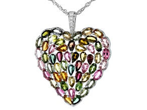 Multi-Tourmaline Rhodium Over Silver Pendant With Chain 10.18ctw