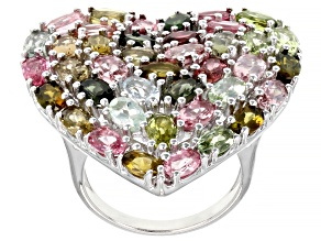 Multi-Color Tourmaline Rhodium Over Sterling Silver Heart Shape Ring 7.48ctw