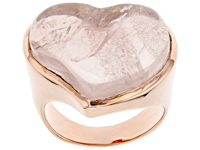 Pink Rose Quartz 18K Rose Gold Over Sterling Silver Solitaire Ring