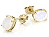 Multi-Color Ethiopian Opal 18k Yellow Gold Over Sterling Silver Stud Earrings. 1.41ctw