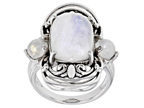 White Rainbow Moonstone Rhodium Over Silver Ring