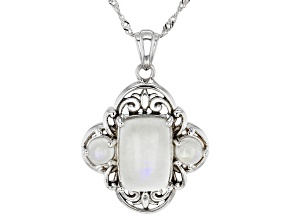 White Rainbow Moonstone Rhodium Over Silver Pendant with Chain.