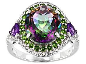 Green Mystic Fire® Topaz Rhodium Over Sterling Silver Ring 5.75ctw