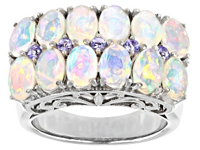 Multi-color Ethiopian Opal Rhodium Over Silver Ring 2.95ctw