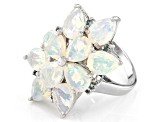 Ethiopian Opal Rhodium Over Sterling Silver Ring 3.65ctw