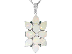 Ethiopian Opal Rhodium Over Silver Pendant With Chain 3.66ctw