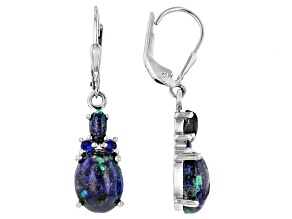 Blue Azurmalachite Rhodium Over Silver Earrings .11ctw
