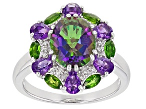 Mystic Fire(R) Green Topaz Rhodium Over Silver Ring 4.25ctw