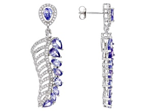 Blue Tanzanite Rhodium Over Sterling Silver Earrings 4.69ctw