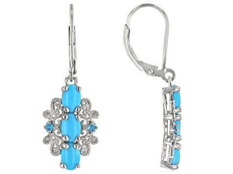 Blue Sleeping Beauty Turquoise Rhodium Over Silver Earrings .10ctw