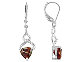 Red Labradorite Rhodium Over Silver Earrings 1.75ctw