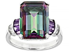 Multi Color Quartz Rhodium Over Sterling Silver Ring 6.77ctw