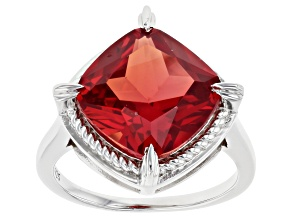 Orange Lab Created Padparadscha Sapphire Rhodium Over Silver Solitaire Ring 8.42ct