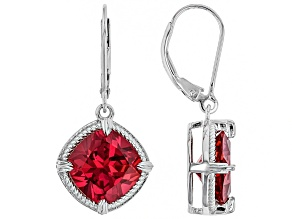 Orange Lab Created Padparadscha Sapphire Rhodium Over silver Earrings 8.30ctw