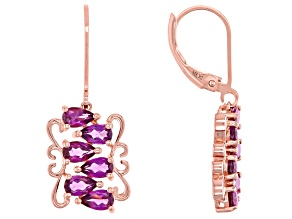 Purple raspberry color rhodolite 18k rose gold over silver earrings 2.65ctw
