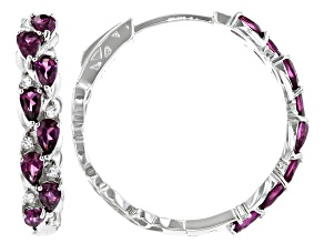 Purple Color Rhodolite Rhodium Over Sterling Silver Hoop Earrings 3.86ctw