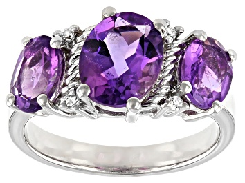 Picture of Purple Amethyst Rhodium Over Silver Ring 2.84ctw
