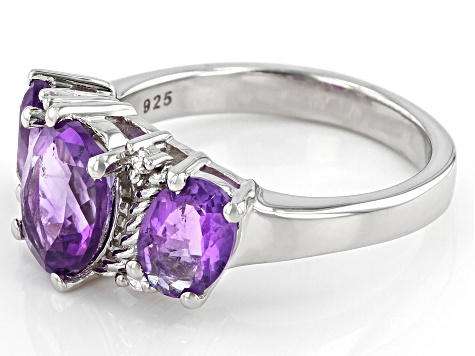 Purple Amethyst Rhodium Over Silver Ring 2.84ctw