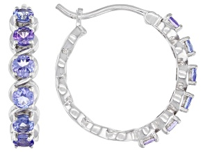 Blue Tanzanite  Rhodium Over Silver Hoop Earrings 1.94ctw