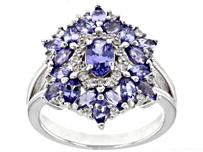 Blue Tanzanite Rhodium Over Sterling Silver Ring 1.69ctw