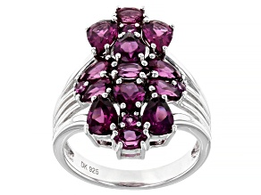 Raspberry Color Rhodolite Rhodium Over Sterling Ring