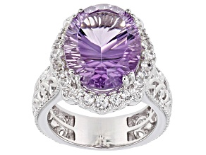 Lavender Amethyst Rhodium Over Silver Ring 7.85ctw