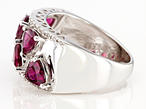 Purple Raspberry Color Rhodolite Rhodium Over Silver Ring 2.79ctw