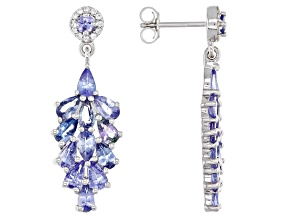 Blue Tanzanite Rhodium Over Silver Earrings 4.46ctw