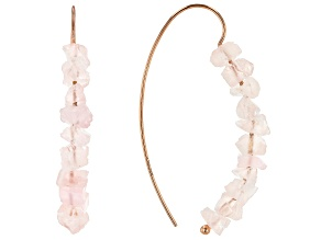 Pink rose quartz 18k rose gold over sterling silver earrings