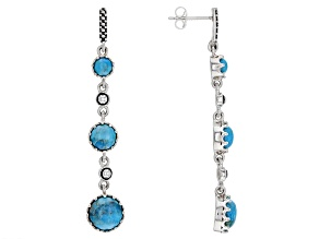 Turquoise Rhodium Over Sterling Silver 3-Stone Earrings